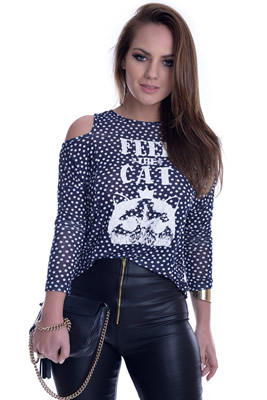 Imagem - Blusa Mini Poá com Recortes nos Ombros