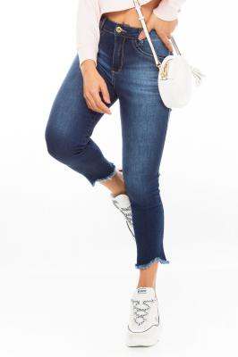 Imagem - Calça Jeans Cropped Barra Destroyed