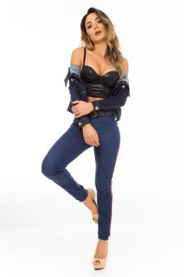Imagem - Calça Jeans Skinny com Listras Laterais