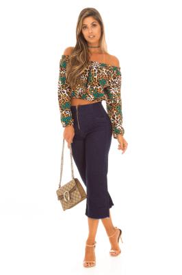 Imagem - Calça Pantacourt em Jeans com Zíper