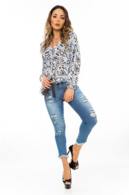 Imagem - Camisa com Amarração Lateral Floral