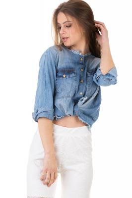 Imagem - Camisa Jeans com Acabamento Desfiado