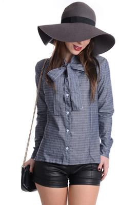 Imagem - Camisa Jeans com Gola Laço