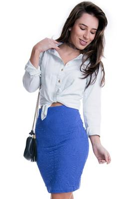 Imagem - Camisete Jeans Feminino com Punho