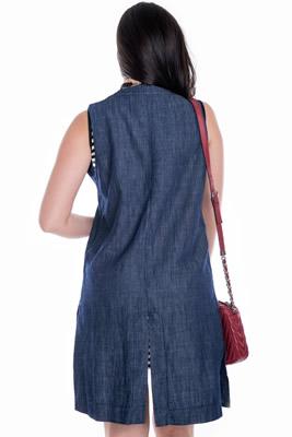 Imagem - Colete Maxi Jeans com Bolso Falso