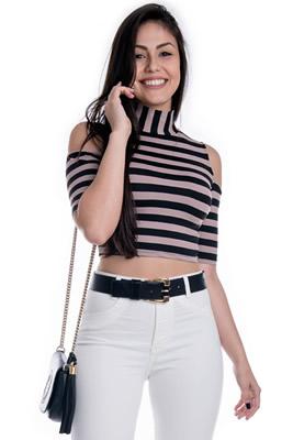 Imagem - Blusa Cropped com Recortes nos Ombros