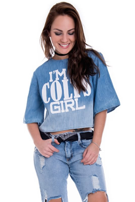 Imagem - Blusa Ampla em Jeans com Degradê e Estampa