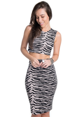 Imagem - Cropped Regata com Estampa Animal Print