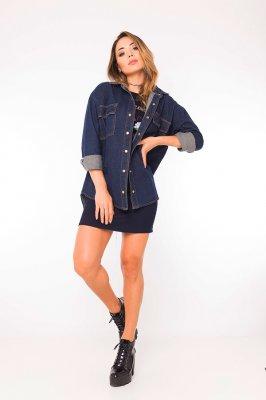 Imagem - Jaqueta Jeans Oversized com Lettering