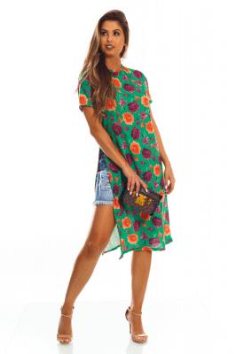 Imagem - Maxi T-shirt Estampada com Fenda