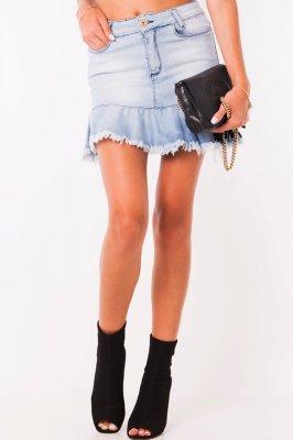 Imagem - Saia Jeans com Babado