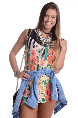 Imagem - Regata Floral com Renda