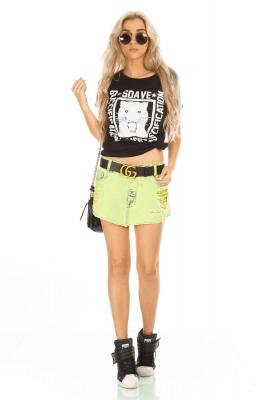 Imagem - Saia Jeans Color Destroyed