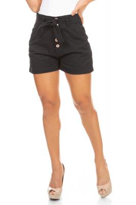 Imagem - Shorts em Sarja com Botões e Amarração