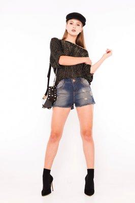 Imagem - Shorts Jeans Estonado com Puídos