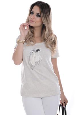 Imagem - T-shirt com Aplique em Pedraria