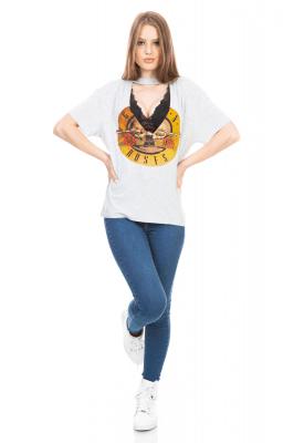 Imagem - T-shirt com Estampa e Gola Choker
