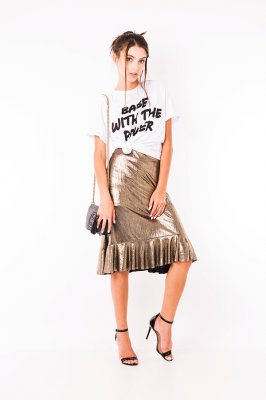Imagem - T-shirt com Ombreiras e Lettering