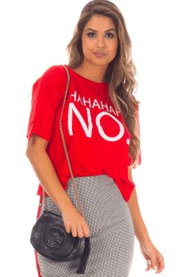 Imagem - T-shirt Cropped com Frase