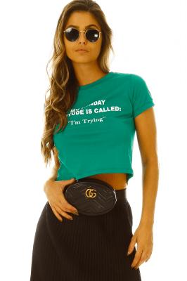 Imagem - T-shirt Cropped com Lettering