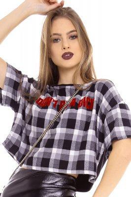 Imagem - T-shirt Cropped Estampado com Lettering