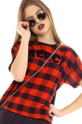Imagem - T-shirt Cropped Xadrez com Lettering