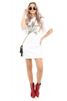 Imagem - T-shirt Dress com Bordado de Paetês