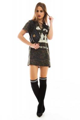 Imagem - T-shirt Dress com Detalhe Trançado