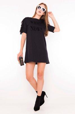 Imagem - T-shirt Dress com Lettering e Babados