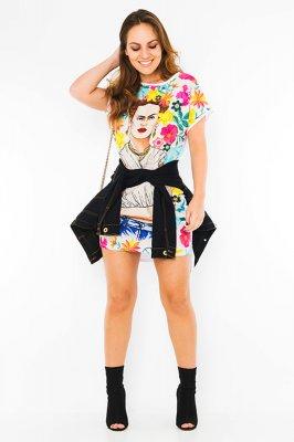 Imagem - T-shirt Dress Estampa Frida Kahlo