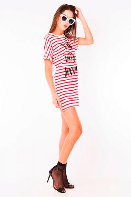 Imagem - T-shirt dress Listrada com Lettering