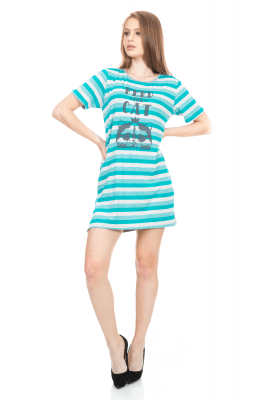 Imagem - T-shirt Dress Listrado com Etampa Frontal