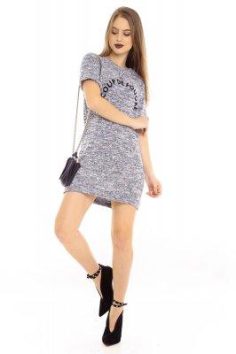 Imagem - T-shirt Dress Mescla com Lettering