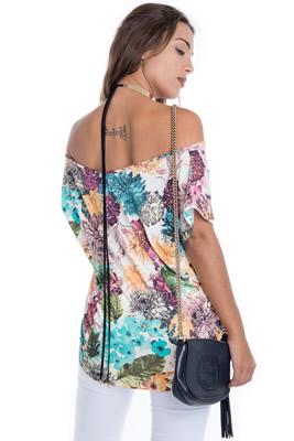 Imagem - T-shirt Floral Ombro Caído