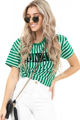 Imagem - T-shirt Listrada com Lettering