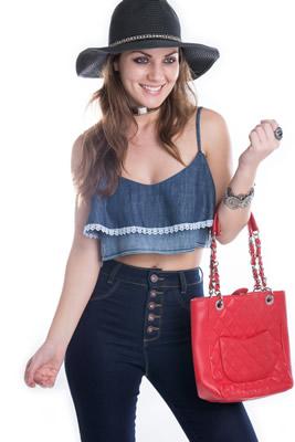 Imagem - Top Jeans com Renda