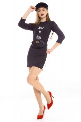 Imagem - Vestido Ajustado com Listra Lateral