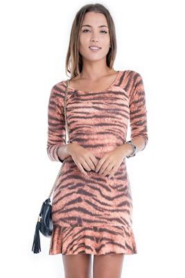 Imagem - Vestido Animal Print com Babado