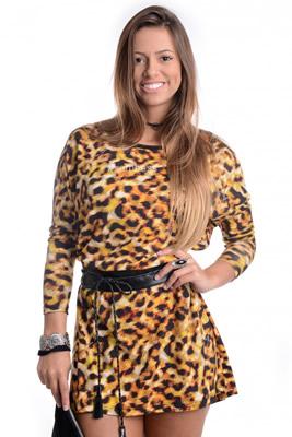 Imagem - Vestido Animal Print com Courino