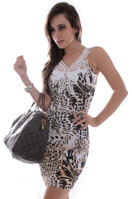 Imagem - Vestido Regata Estampado com Renda