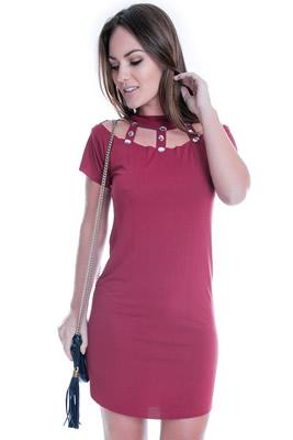 Imagem - Vestido Básico com Pedraria