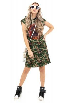 Imagem - Vestido Camuflado com Capuz e Estampa