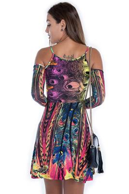Imagem - Vestido Ciganinha com Estampa Pavão