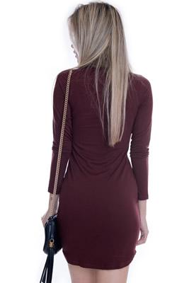 Imagem - Vestido com Gola Alta de Pelo