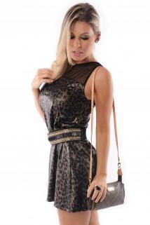 Imagem - Vestido de Lycra com Tule