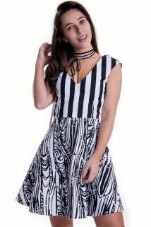 Imagem - Vestido de Sarja Preto e Branco