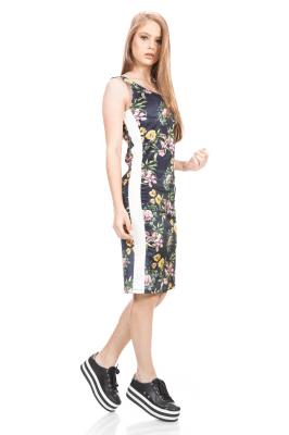 Imagem - Vestido em Veludo com Listra Lateral