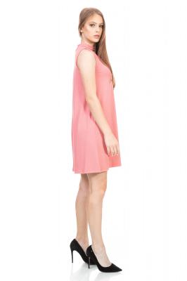 Imagem - Vestido Evasê com Gola Choker