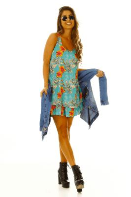 Imagem - Vestido Evasê Estampado