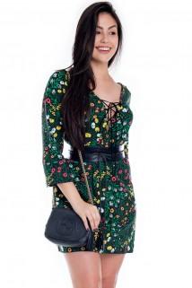 Imagem - Vestido Floral Amplo com Decote Trançado